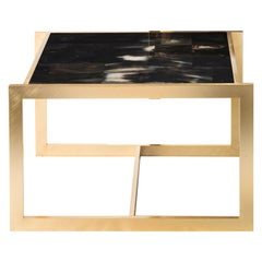Arcahorn Gemini Small Table with Gold-Plated Brass Details by Filippo Dini