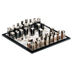 Arcahorn Nelson Chessboard in Mirrored Glass and Wood by A. Andreucci