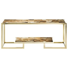 Arcahorn Nubia Console Table in Horn & 24-Karat Gold-Plated Brass, Filippo Dini