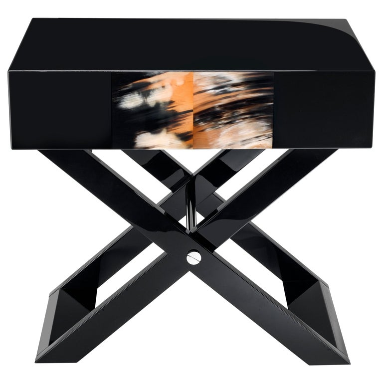 Arcahorn Raisi Side Table in Wood with Black Gloss by Filippo Dini For Sale
