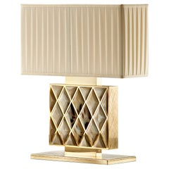 Arcahorn Short Saba Table Lamp in Gold-Plated Brass and Horn by Filippo Dini