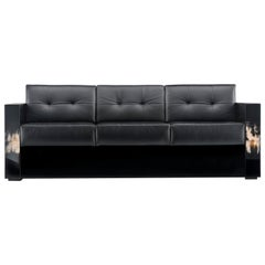 Arcahorn Tiberio Sofa in Black Quilted Tosca Leather by Filippo Dini