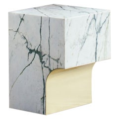 contemporary marble with brass stool or side table, arch 01.1 by barh