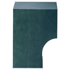 contemporary green oak wood stool or side table, arch 01.1 by barh