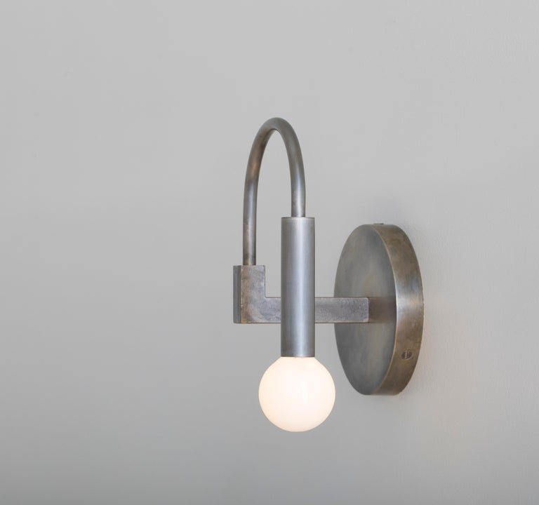 Brushed Arch, a Contemporary Wall Sconce in Matte Black with Satin Glass Globe, ADA For Sale