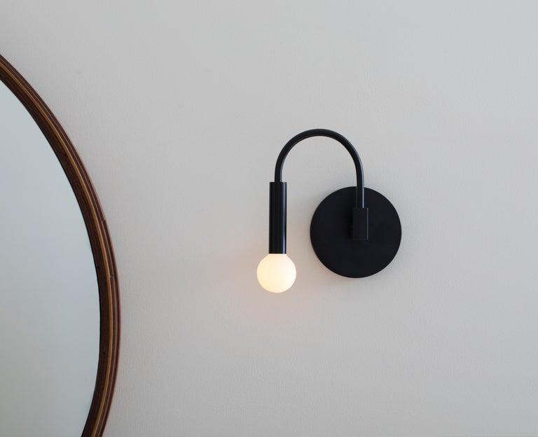 American Arch, a Contemporary Wall Sconce in Matte Black with Satin Glass Globe, ADA For Sale