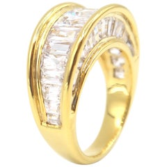 Arch Baguette White Sapphire Channel Set Gold Ring