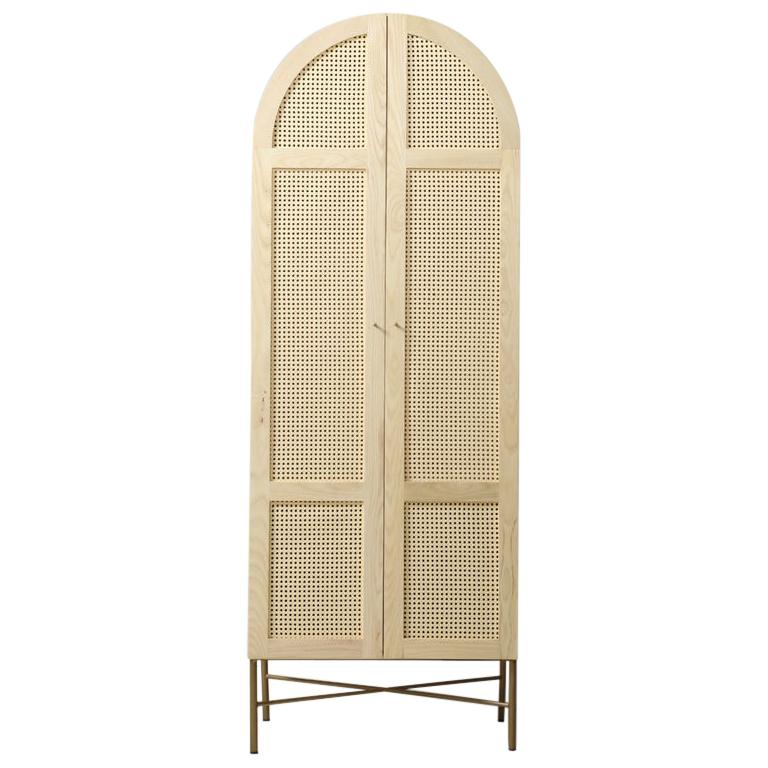 Arch Cane Cabinet Featuring Antique Brass Legs For Sale