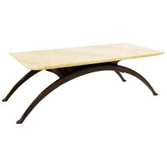 Mid-Century Modern Arch Legs and Marble-Top Coffee Table