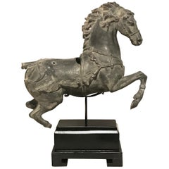 Archaic Chinese Tang Style Imperial War Horse Sculpture on Stand