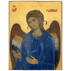 Archangel Gabriel Painted in 2000 Icon with Gold Leaf