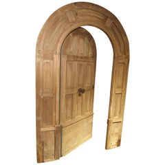 Arched Antique French Oak Entry Door with Frame, 19th Century