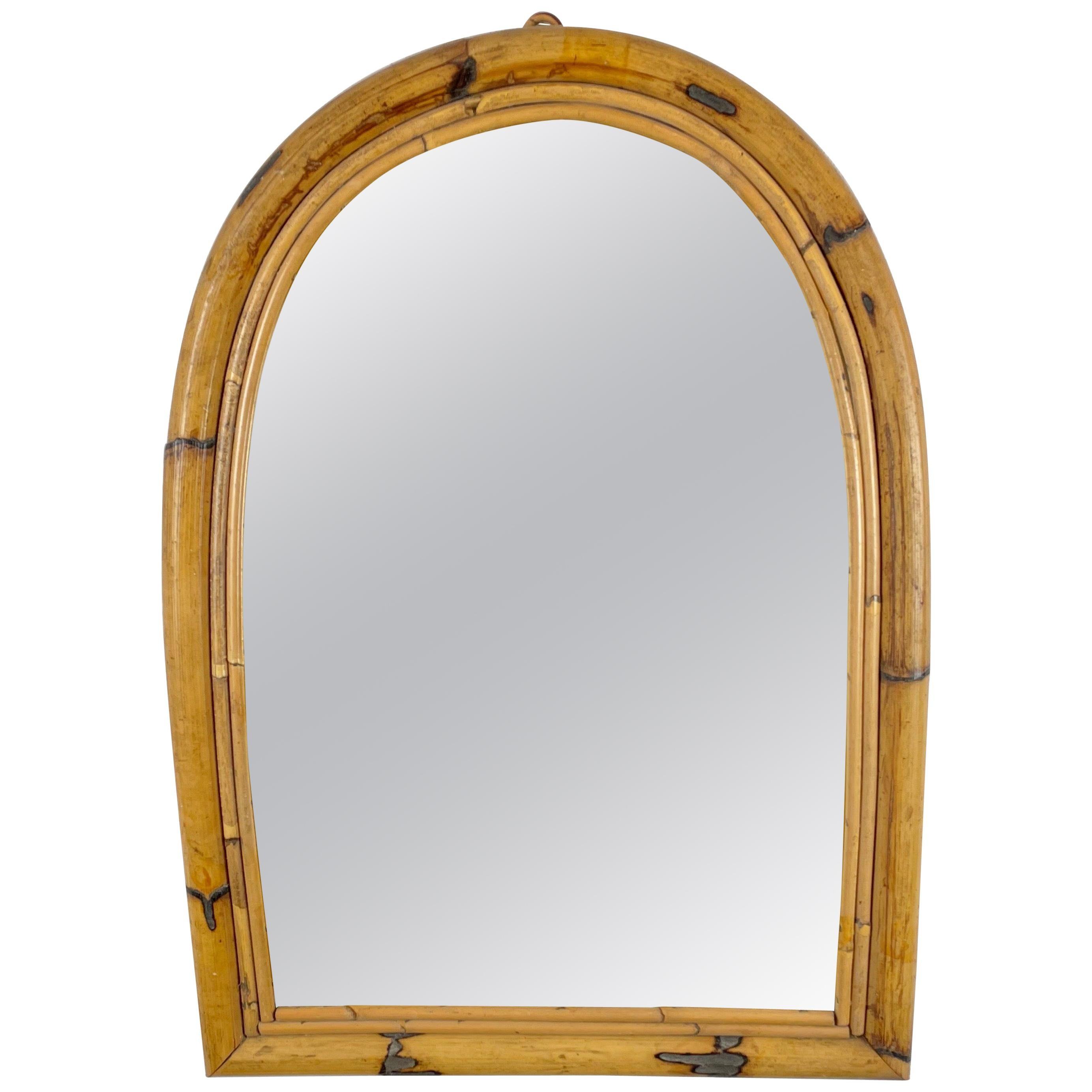 Arched Bamboo Rattan Wall Mirror, Italy, 1960s