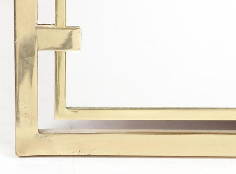 Italian Arched Brass Framed Mirror in Open Rectangular Frame For Sale
