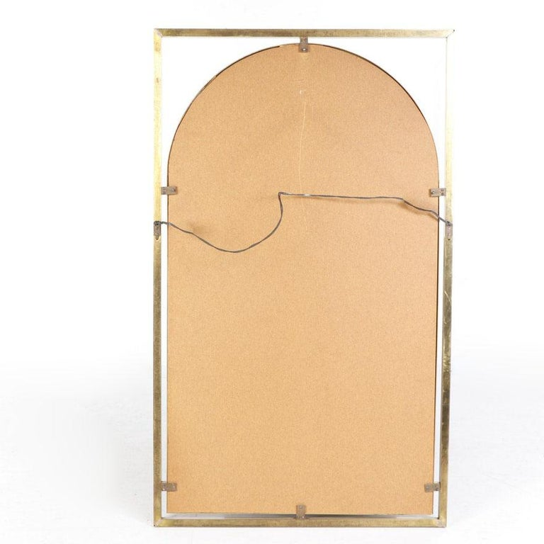 Brushed Arched Brass Framed Mirror in Open Rectangular Frame For Sale
