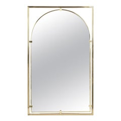 Arched Brass Framed Mirror in Open Rectangular Frame