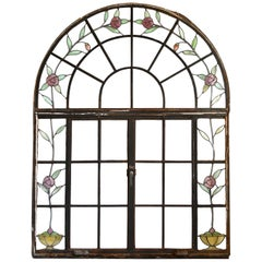 Arched Casement Window with Stained Glass Roses
