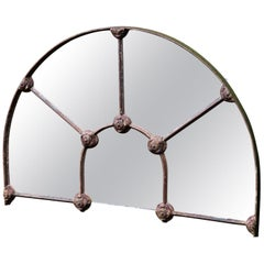 Arched Cast Iron Reclaimed Window Mirror, Mid-19th Century