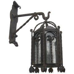 Arched Door Forged Iron Exterior Lantern on Bracket