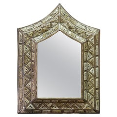 Arched Ivory White Camel Bone Mirror, Bevelled