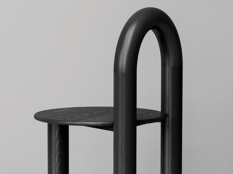 Modern Arched Mono Side or Accent Chair in Black Solid Ash by Objects & Ideas For Sale