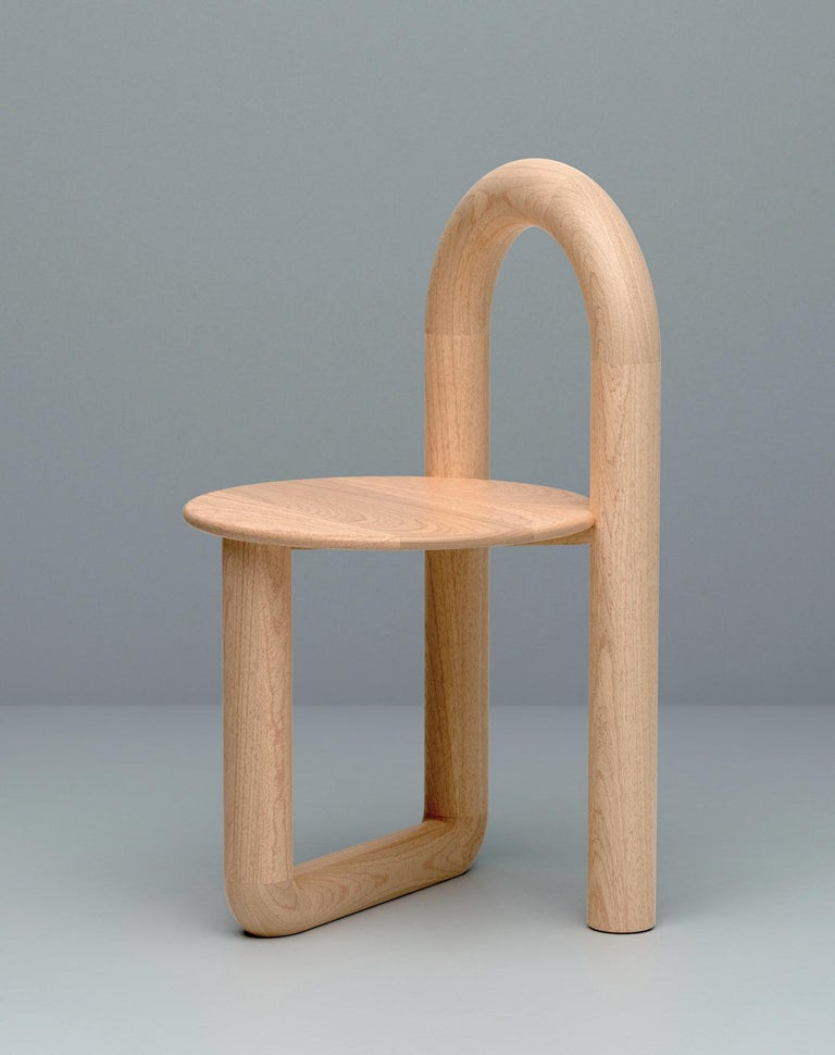 Modern Arched Mono Side or Accent Chair in Lacquered Maple by Objects & Ideas For Sale