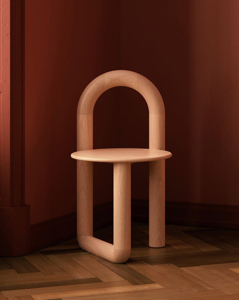 Arched Mono Side or Accent Chair in Lacquered Maple by Objects & Ideas In New Condition For Sale In Brooklyn, NY