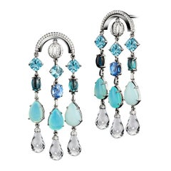 Arched Sautior Earrings with Diamonds, Precious Stones and Snowflakes
