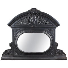 Arched Top Mirrored Cast Iron Over mantel, 20th Century