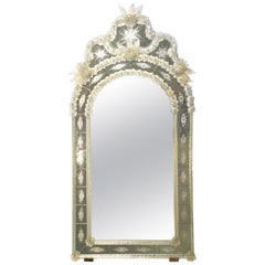 Arched Venetian Mirror with Etched and Gold Blown Glass, Made in Murano Italy