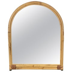 Arched Wall Mirror in Bamboo and Rattan, Italy, 1960s
