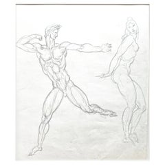 """""""Archer and Standing Nude,"""" Early Art Deco Drawing by Donald De Lue"""