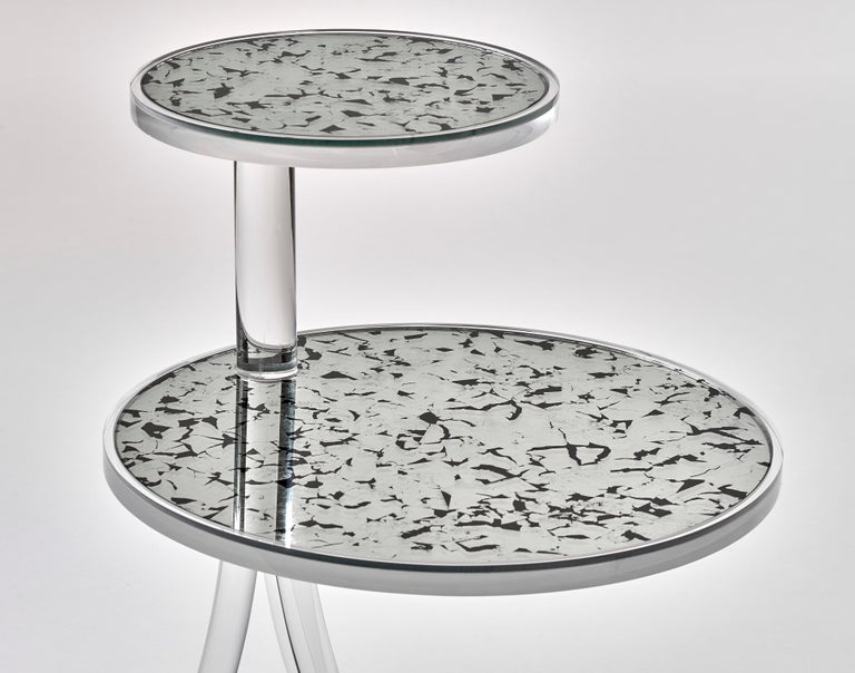 Archer acrylic table with antique glass mirror inserts. Two-tiered acrylics table Measures: Top table 10