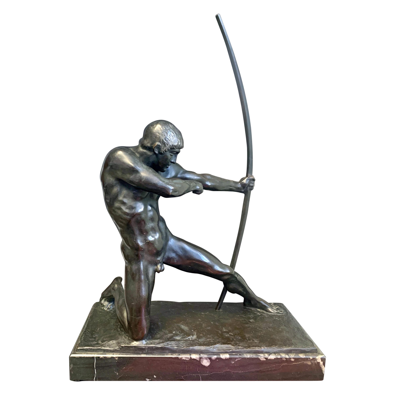 """Archer,"" Rare, Sensuous Art Deco Bronze Sculpture with Male Nude by Gemignani"