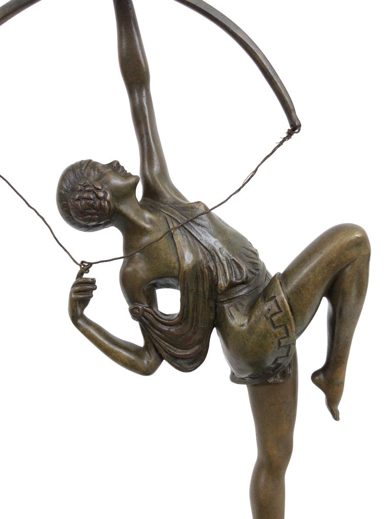 Archer Sculpture in Bronze Attributed to Pierre Le Faguays, French Art Deco For Sale 1