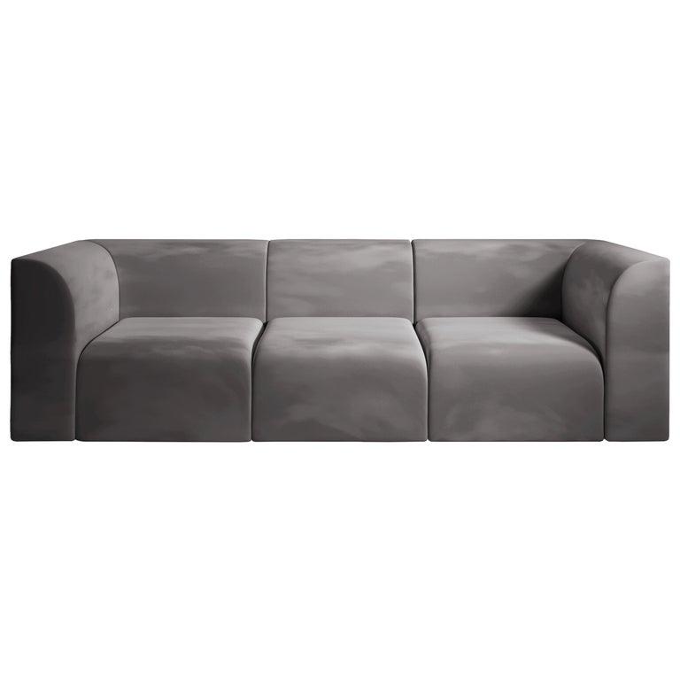 Archi 3-Seat Contemporary Sofa in Fabric by Artefatto Design Studio For Sale