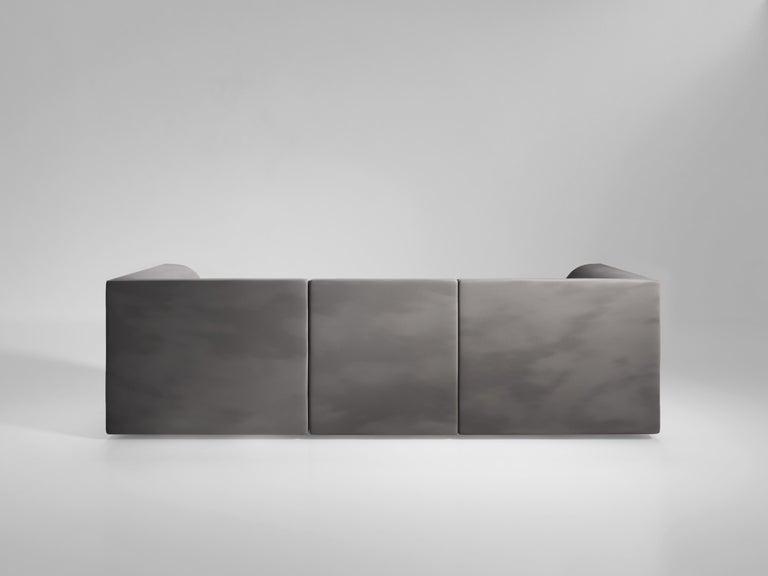 Modern Archi 3-Seat Contemporary Sofa in Fabric by Artefatto Design Studio For Sale