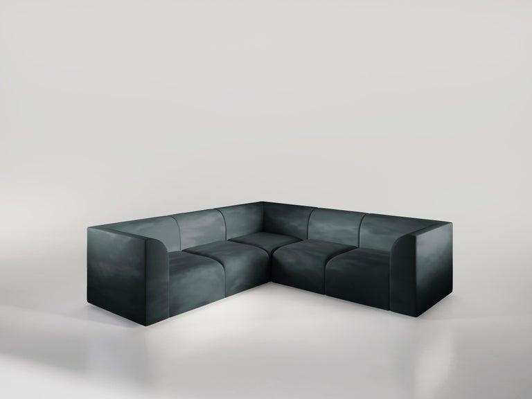 Archi 3-Seat Contemporary Sofa in Fabric by Artefatto Design Studio In New Condition For Sale In London, GB