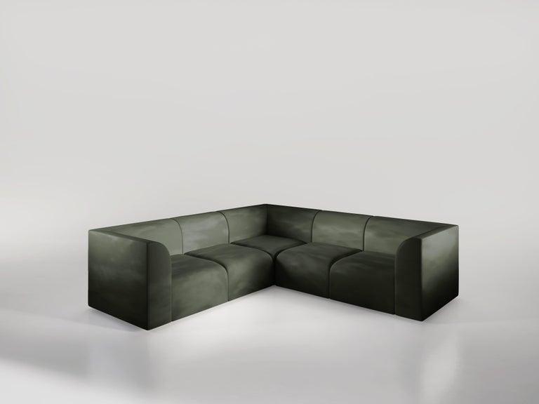Archi 3-Seat Contemporary Sofa in Fabric by Artefatto Design Studio For Sale 1
