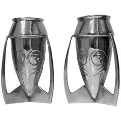 Archibald Knox Liberty and Co. Pair of Iconic Pewter Bombe Vases, circa 1902