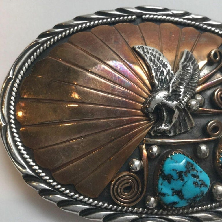 Mixed Cut Archie Martinez Navajo Sterling Silver and Gold Turquoise Belt Buckle For Sale