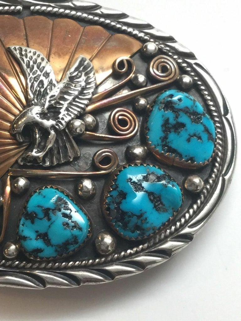 Archie Martinez Navajo Sterling Silver and Gold Turquoise Belt Buckle For Sale 2