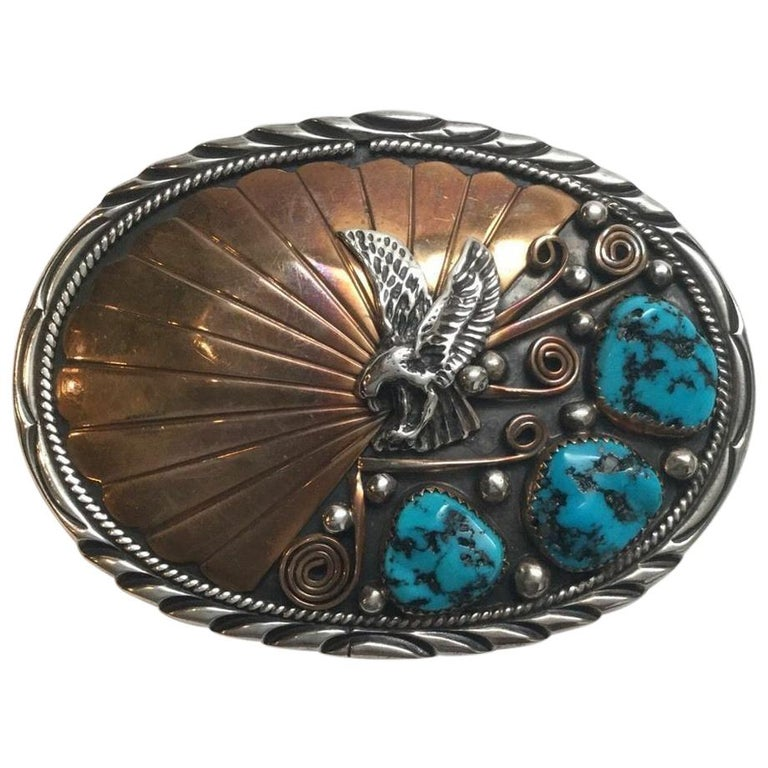 Archie Martinez Navajo Sterling Silver and Gold Turquoise Belt Buckle For Sale