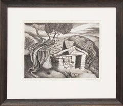 Prospector's Cabin (vintage 1937 Modernist Black and White Lithograph)
