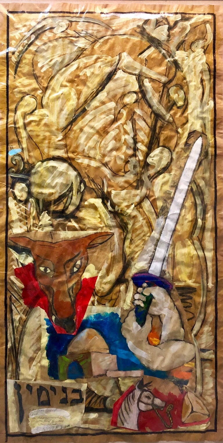 Tribe of Benjamin, Large Judaica Mixed Media Collage Painting