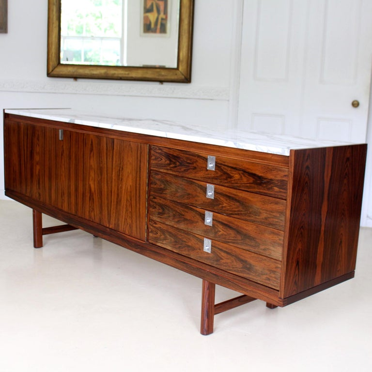 Archie Shine Robert Heritage Marble Brazilian Rosewood Sideboard For Sale 12