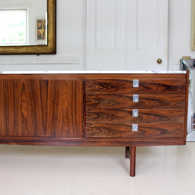 Mid-20th Century Archie Shine Robert Heritage Marble Brazilian Rosewood Sideboard For Sale