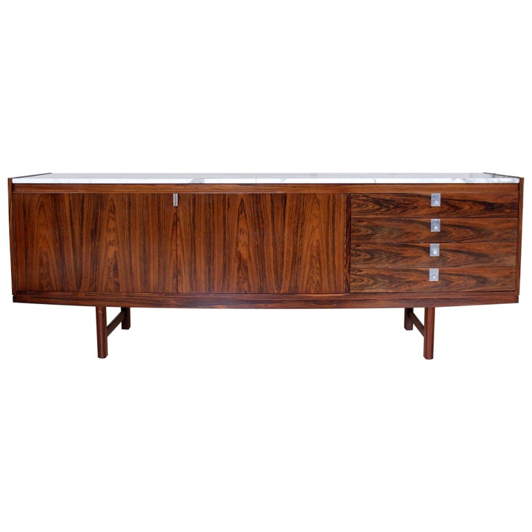 Archie Shine Robert Heritage Marble Brazilian Rosewood Sideboard For Sale
