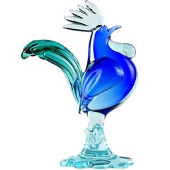 Archimede Seguo Murano Sommerso Green Blue Italian Art Glass Rooster Sculpture