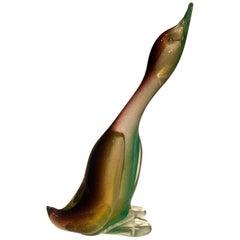 """Archimede Seguso 1950 Multi-Color Duck in Murano Glass """"Sfumatto Oro"""""""